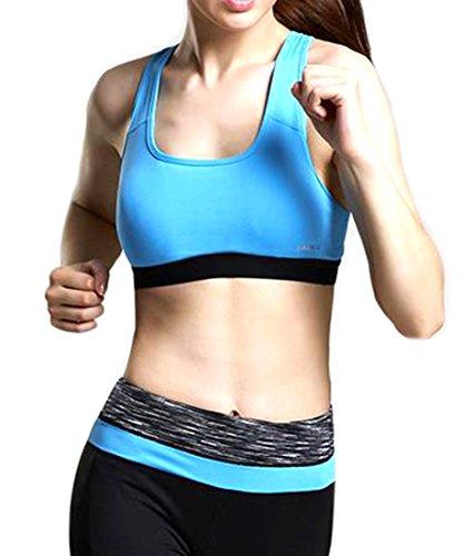 Fulok Women's Breathable Padded Sport Fitness Yoga Bra blue Medium