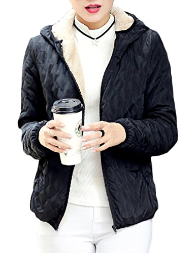Front Jacket Lined Lightweight Black Slim Coat Zip Fit Womens EKU Hooded Fleece wRq14RIz