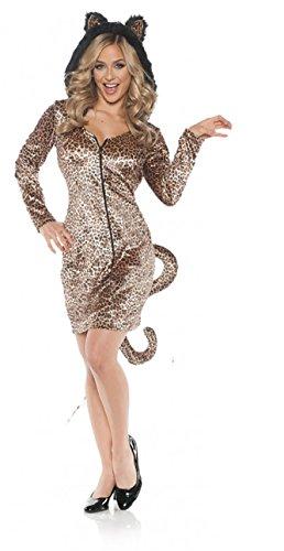 Cat Burglar Costume Man (Women's Hooded Leopard Cat Costume - Mini Dress w/Tail, Large)