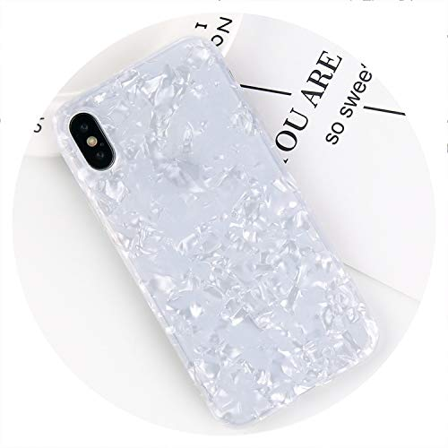 Glitter Phone Case for iPhone 7 8 Plus Dream Shell Pattern Cases for iPhone XR XS Max 7 6 6S Plus Soft TPU Silicone Cover,White,for iPhone Xs Max ()