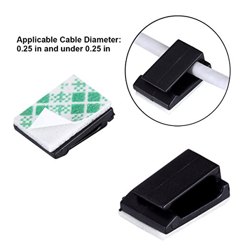 Magicfour 100 Pack Adhesive Cable Clips Practical Cable Tie Cable Management Wire Clips for Home Office Car