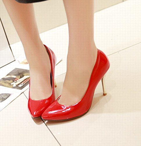 Mee Shoes Damen Stiletto Lackleder Geschlossen Pumps Rot