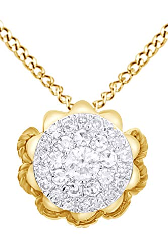 - 1/4 Carat Round Shape White Natural Diamond Flower Pendant Necklace In 14k Solid Yellow Gold (0.25 Cttw)