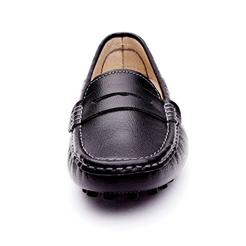 Loafers Shoes SUNROLAN 838 On Driving Casual Boat Slip black Moccasins Penny Genuine Flats Women's Leather txaqxgSA