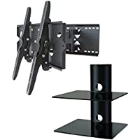 2xhome – NEW TV Wall Mount Bracket (Dual Arm) & Two (2) Double Shelf Package – Secure Low Profile Cantilever LED LCD Plasma Smart 3D WiFi Flat Panel Screen Monitor Moniter Display Large Displays - Long Swing Out Dual Double Arm Extending Extendible Adjusting Adjustable - Dual 2 Tier Under TV Tempered Glass Floating Hanging Shelves Shelving Unit Rack Tower Set Bundle - Full Motion 15 degree degrees Tilt Tilting Tiltable Swivel Articulating Heavy Duty Strong Durable Support - Mounted Mounting Home Entertainment Media Center Multimedia Furniture Family Living Room Game Gaming - Management Designer Organization Space Saver System HDTV HDMI HD Video Accessories Audio Video AV Component DVR DVD Bluray Players Cable Boxes Consoles Satellite XBox PS3 - Compatible VESA 100mm x 100mm, 200mm x 200mm, 400mm x 400mm , 600mm x 400mm, 700mm x 450mm, 718mm x 450mm, 720mm (W) x 470mm(H) - Universal Fit for LG Electronics Samsung Vizio Sharp TCL Toshiba Seiki Sony Sansui Sanyo Philips RCA Magnavox Panasonic JVC Insignia Hitachi Emerson Element SunBrite SunBright 45 46 47 48 49 50 51 52 53 54 55 56 57 58 59 60 61 62 63 64 65 66 67 68 69 70 71 72 73 74 75 76 77 78 79 80 81 82 83 84 85