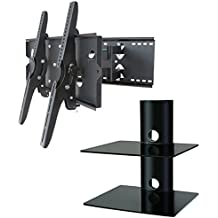 """2xhome – NEW TV Wall Mount Bracket (Dual Arm) & Two (2) Double Shelf Package – Secure Low Profile Cantilever LED LCD Plasma Smart 3D WiFi Flat Panel Screen Monitor Moniter Display Large Displays - Long Swing Out Dual Double Arm Extending Extendible Adjusting Adjustable - Dual 2 Tier Under TV Tempered Glass Floating Hanging Shelves Shelving Unit Rack Tower Set Bundle - Full Motion 15 degree degrees Tilt Tilting Tiltable Swivel Articulating Heavy Duty Strong Durable Support - Mounted Mounting Home Entertainment Media Center Multimedia Furniture Family Living Room Game Gaming - Management Designer Organization Space Saver System HDTV HDMI HD Video Accessories Audio Video AV Component DVR DVD Bluray Players Cable Boxes Consoles Satellite XBox PS3 - Compatible VESA 100mm x 100mm, 200mm x 200mm, 400mm x 400mm , 600mm x 400mm, 700mm x 450mm, 718mm x 450mm, 720mm (W) x 470mm(H) - Universal Fit for LG Electronics Samsung Vizio Sharp TCL Toshiba Seiki Sony Sansui Sanyo Philips RCA Magnavox Panasonic JVC Insignia Hitachi Emerson Element SunBrite SunBright 45"""" 46"""" 47"""" 48"""" 49"""" 50"""" 51"""" 52"""" 53"""" 54"""" 55"""" 56"""" 57"""" 58"""" 59"""" 60"""" 61"""" 62"""" 63"""" 64"""" 65"""" 66"""" 67"""" 68"""" 69"""" 70"""" 71"""" 72"""" 73"""" 74"""" 75"""" 76"""" 77"""" 78"""" 79"""" 80"""" 81"""" 82"""" 83"""" 84"""" 85"""""""