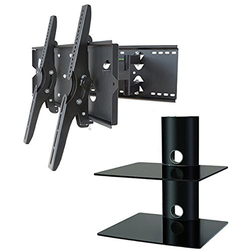 Electronics Tower Wall Entertainment Center (2xhome – NEW TV Wall Mount Bracket (Dual Arm) & Two (2) Double Shelf Package – Secure Low Profile Cantilever LED LCD Plasma Smart 3D WiFi Flat Panel Screen Monitor Moniter Display Large Displays - Long Swing Out Dual Double Arm Extending Extendible Adjusting Adjustable - Dual 2 Tier Under TV Tempered Glass Floating Hanging Shelves Shelving Unit Rack Tower Set Bundle - Full Motion 15 degree degrees Tilt Tilting Tiltable Swivel Articulating Heavy Duty Strong Durable Support - Mounted Mounting Home Entertainment Media Center Multimedia Furniture Family Living Room Game Gaming - Management Designer Organization Space Saver System HDTV HDMI HD Video Accessories Audio Video AV Component DVR DVD Bluray Players Cable Boxes Consoles Satellite XBox PS3 - Compatible VESA 100mm x 100mm, 200mm x 200mm, 400mm x 400mm , 600mm x 400mm, 700mm x 450mm, 718mm x 450mm, 720mm (W) x 470mm(H) - Universal Fit for LG Electronics Samsung Vizio Sharp TCL Toshiba Seiki Sony Sansui Sanyo Philips RCA Magnavox Panasonic JVC Insignia Hitachi Emerson Element SunBrite SunBright 45