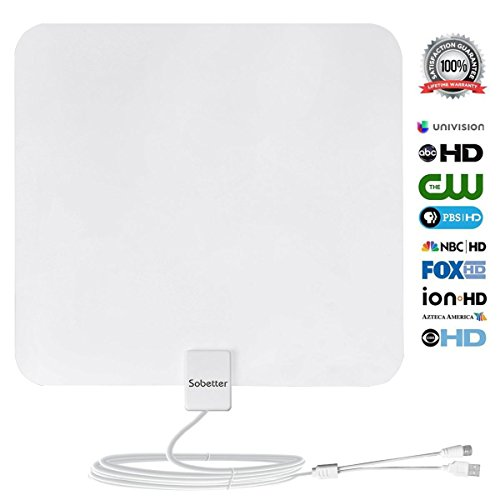 Sobetter 50+ Mile Range Digital TV Antenna Built In Amplifier with USB power supply ,13.2ft Coax Cable,12 months warranty(New version,supports 1080p,4K,White)