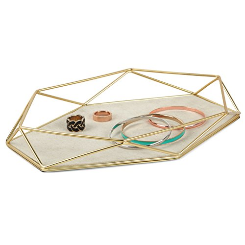 Umbra Prisma Jewelry Tray, Geometric and Brass Plated Jewelry Storage, Great for Displaying Jewelry, Linen Base Protects Your Accessories, Matte Brass