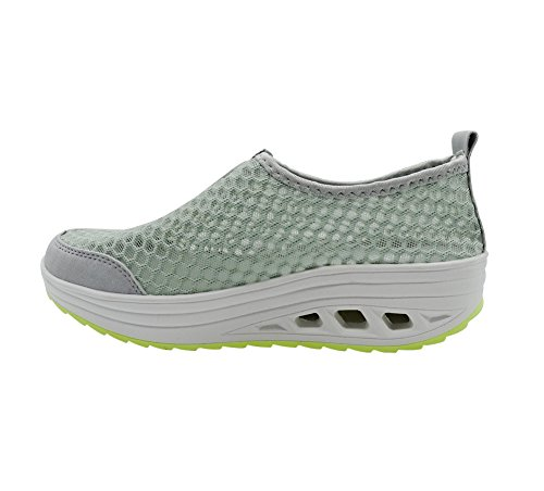 Women's Running Gray Shoes Drying Loafers Shoes Breathable On Walking Water Summer Slip WOJIAO Mesh Quick ZaBqAAx