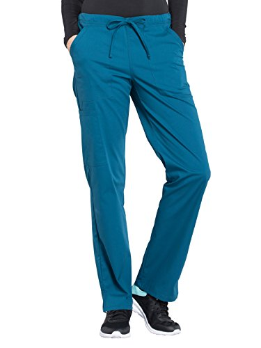 Cherokee WW Professionals WW160 Mid Rise Straight Leg Drawstring Pant Caribbean Blue S - Cotton Pants String Pull
