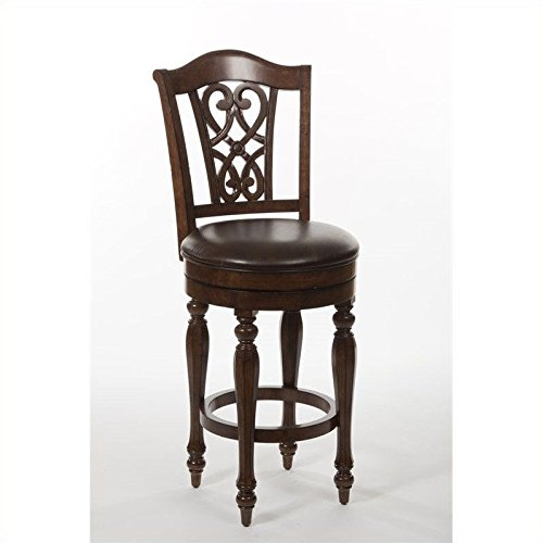 Hamilton Swivel Bar Stool - Hillsdale Furniture Completely KD Hamilton Park Swivel Counter Stool with Scroll Back, Brown