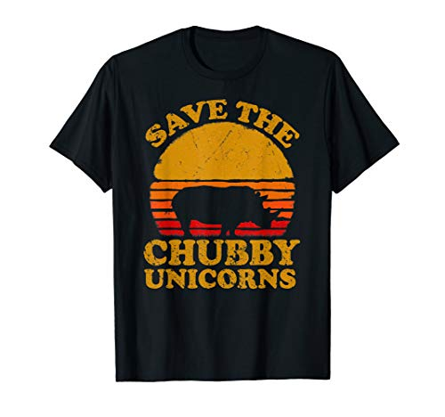 (Save The Chubby Unicorns Shirt. Retro Style Rhino T-Shirt)