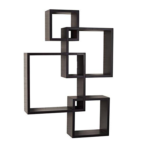 Danya B. BR1023ES Decorative Wall Mount Floating Intersecting Cube Accent Wall Shelf - Espresso by Danya B