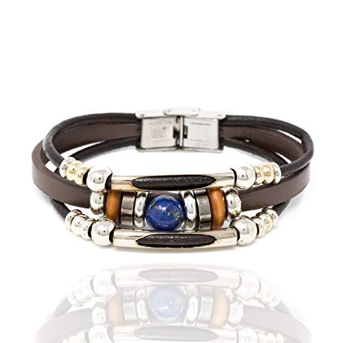 Chuvora Stainless Steel, Black Leather, Wood, with Blue Lapis Lazuli Gemstone Beaded Wrap Unisex ()