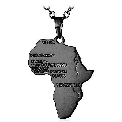 (U7 Men Hip Hop Necklace with Free Chain 22 Inch Boys Ion-Plating Black Metal Engraved Africa Map Pendant, Gift Packaging)