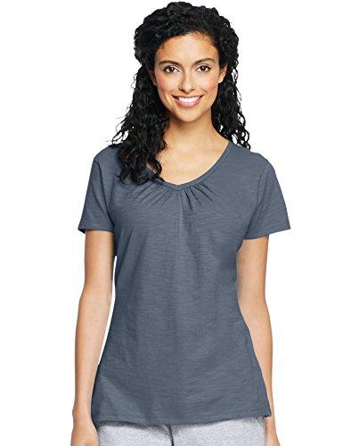 Hanes Women`s Slub Jersey Shirred V-Neck, 9253, 2XL, Dada Grey Heather