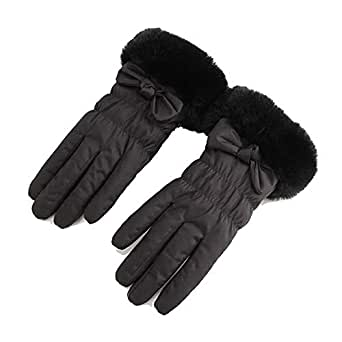WUXiaodanDan Women's autumn and winter plus velvet thickening gloves windproof cold warm gloves driving riding touch screen gloves (Color : Black, Size : One size)