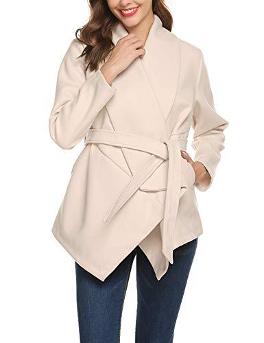 Romanstii Women's Wrap Coat Turn Down Shawl Collar Check/Grid/Black Asymmetric Hemline Blend Coat Plaid