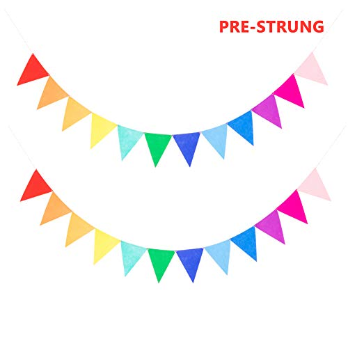 Pack of 2 Assembled Felt Rainbow Bunting Banner Multicolor for Kids Birthday Party -