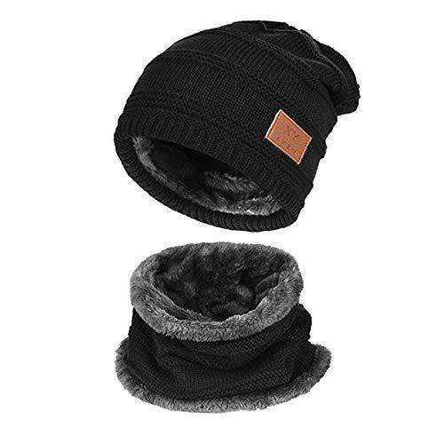 Kata Beanie Hat Scarf Set Thick Knit Hat Warm Fleece Lined Scarf Warm Winter Hat For Men & Women (Black-New)