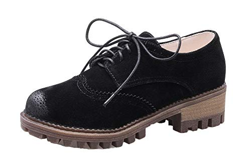 AgooLar Women's Low-Heels PU Solid Lace-Up Pumps-Shoes, GMDDB011886, Black,...