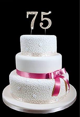 Amazoncom 75th Birthday Wedding Anniversary Number Cake Topper