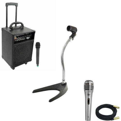 Pyle Speaker, Mic, Stand and Cable System Package for your Studio, Concert, Stage, Performance, Bar, Home, etc. - PWMA230 200W VHF Wireless Battery Powered PA System - PDMIK1 Professional Moving Coil Dynamic Handheld Microphone - PMKS8 U-Base Gooseneck Desktop Microphone Stand - PPMCL30 30ft. Symmetric Microphone Cable XLR Female to XLR Male