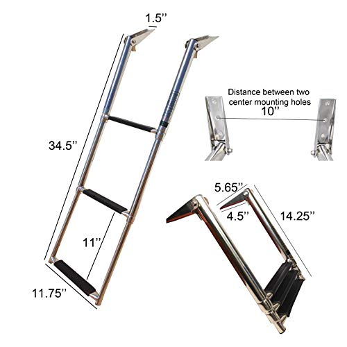 Pactrade Marine Boat Stainless Steel 3 Step Telescopic Ladder Swim Step Over ()