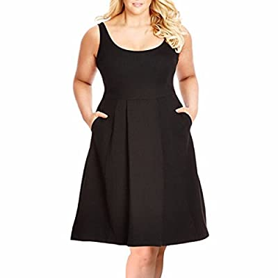 Samtree Plus Size Dresses for Women,Casual Sleeveless Fit and Flare A-line Sundress
