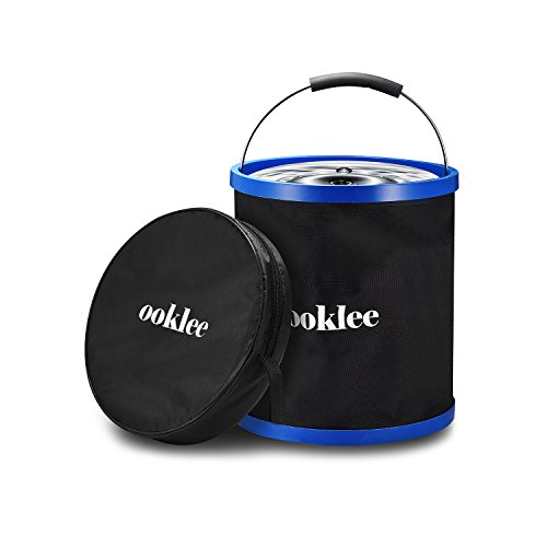 OOKLEE 12L/3.2Gal Collapsible Bucket ,Portable Pail ,Foldable Barrel for Car washing Camping Fishing Hiking Trekking Picnic BBQ and Beach Rinsing