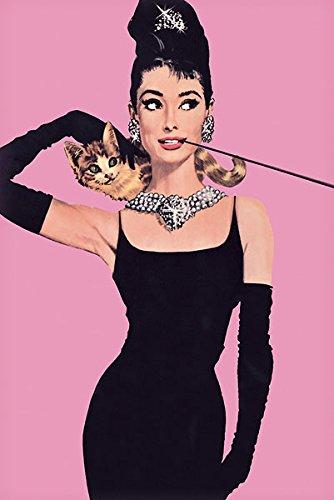 Audrey Hepburn Pink Movies Film Print Poster 24x36