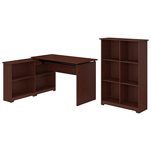 Bush Furniture Cabot 52W 3 Position Sit to Stand Corner Bookshelf Desk with 6 Cube Organizer in Harvest Cherry 3 Shelf Cherry Desk