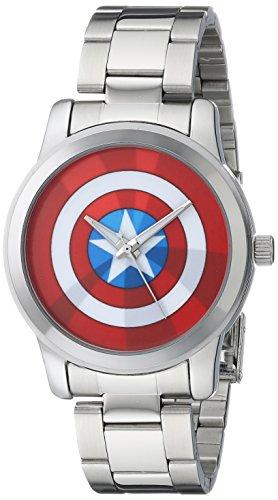 (Marvel Men's W001780 The Avengers Captain America Analog-Quartz Silver Watch)