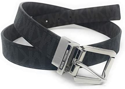 Michael Kors Women`s 30mm Brown To Black Reversible MK Logo Monogram Synthetic Leather Belt (L)