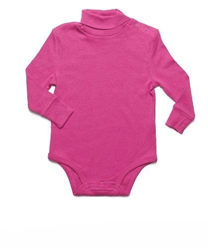 Leveret Solid Turtleneck Bodysuit 100% Cotton (12 Months, Magenta) - Kids Magenta Apparel
