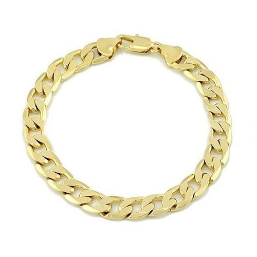Amythyst Unisex Men's and Women's Yellow Gold Tone Stainless Steel Cuban / Curb Link Chain Bracelet (5mm ()