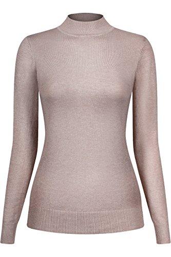 - 2LUV Women's Silk Blend Stretch Knit Mock Turtleneck Khaki M