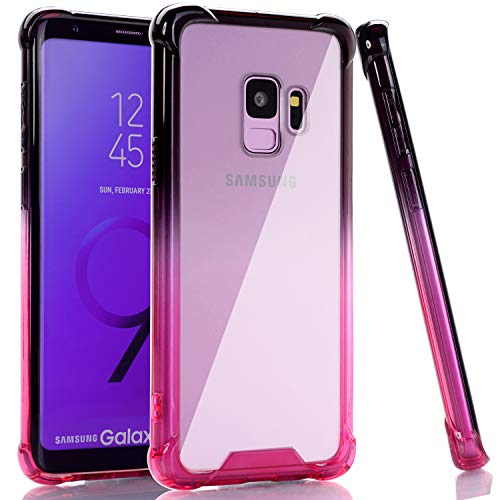 BAISRKE Galaxy S9 Case, Black Pink Gradient Shock Absorption Flexible TPU Soft Edge Bumper Anti-Scratch Rigid Slim Protective Cases Hard Plastic Back Cover for Samsung Galaxy S9