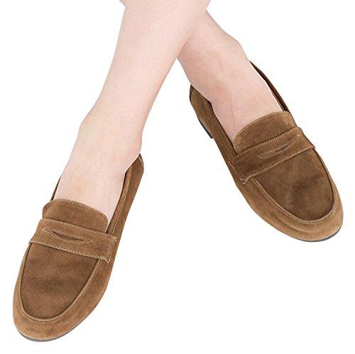 Annakastle Donna Vera Pelle Scamosciata Classica Penny Loafer Slip Ons Scarpe Da Giorno Marrone