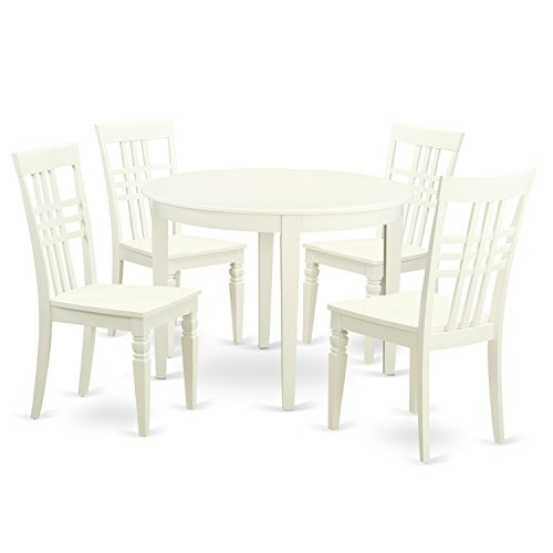 East West Furniture BOLG5-LWH-W 5 Piece Table and Chair Set with One Boston Table and Four Dining Chairs in Linen White Finish