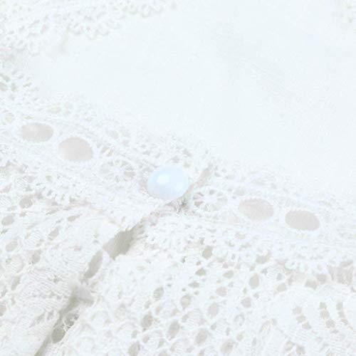 en VJGOAL Manches Patchwork Dentelle Femmes Top Flare Courtes Ruffles Blanc Top S6qE6w