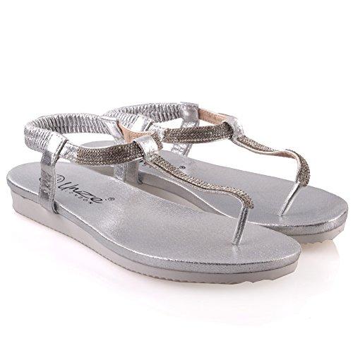 Unze Decorado plana sandalias de verano para mujer ' Guri ' Plateado