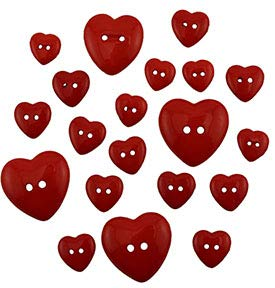 Buttons Galore Craft & Sewing Buttons - Red Hearts - 3 Packs (45 Buttons)