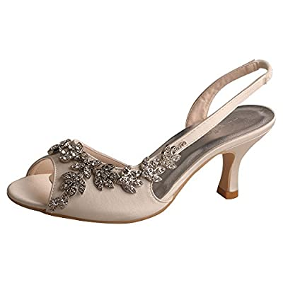 Wedopus MW13105 Women's Peep Toe Slingback Mid Heel Sandals Rhinestones Satin Evening Prom Wedding Shoes