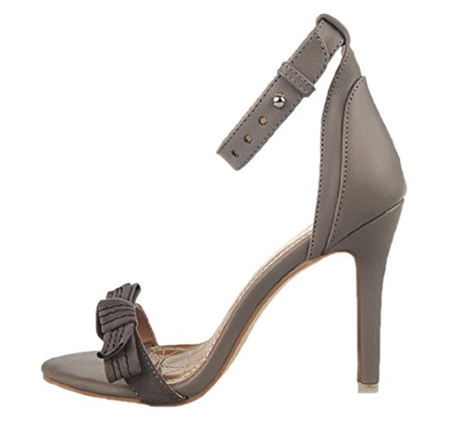 HooH Women's Matte Ankle Strap Stiletto Bowknot Peep Toe Sandals Grey Yc1AwI7PP8