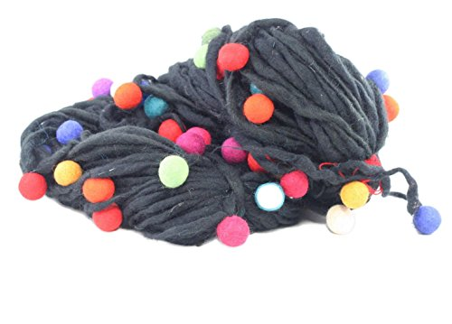 Darn Good Yarn, Thick and Thin Wool Yarn with Felt Balls, 50 Yards, Black, 100 Grams, 1 ()