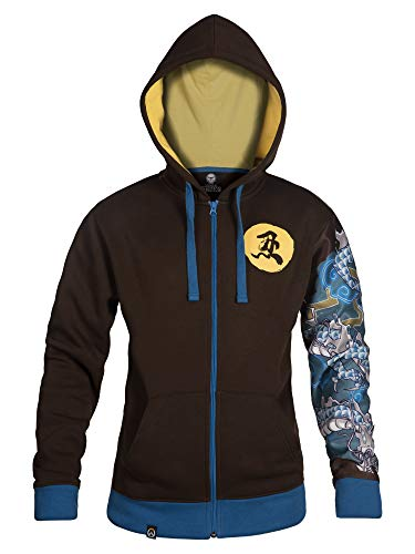 JINX Overwatch Ultimate Hanzo Zip-Up Hoodie, Brown, Small