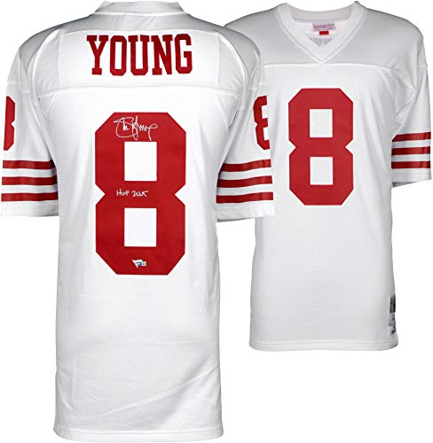 - Steve Young San Francisco 49ers Autographed White Replica Mitchell & Ness Jersey with