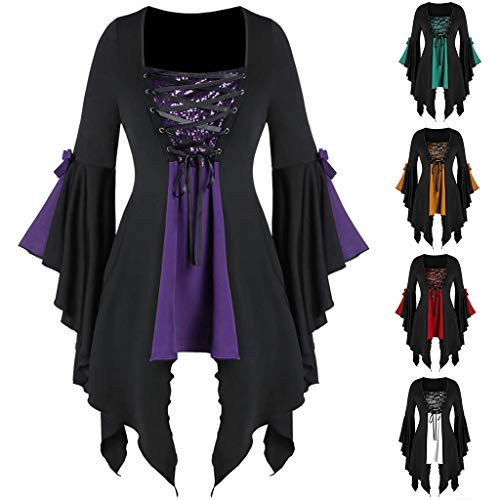 Sunmoot Clearance Sale Witch Costume Halloween for Womens Gothic Criss Cross Sequined Insert Butterfly Sleeve T-Shirt Tops Purple